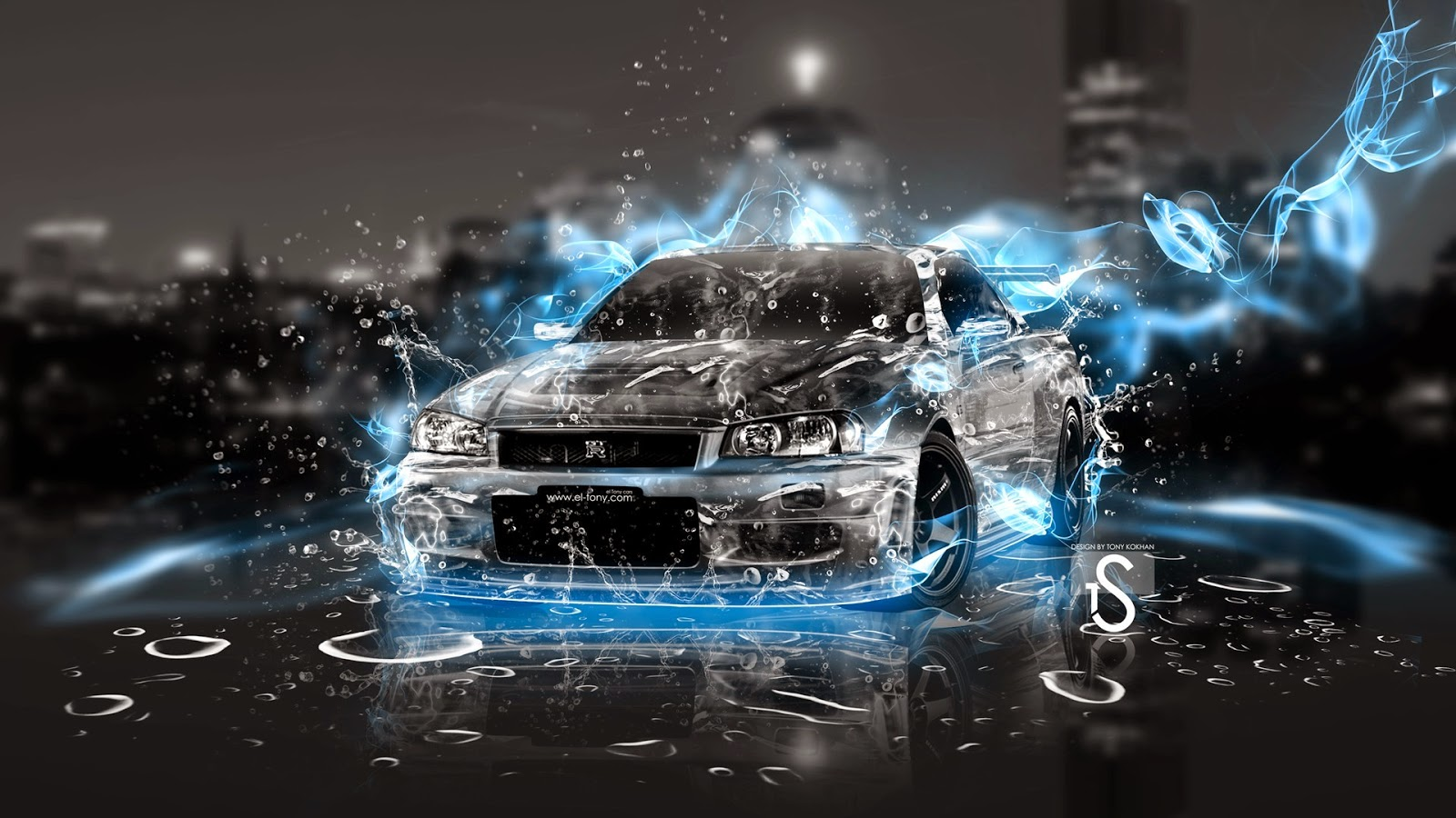 Cool Wallpapers - Car with Blue Fire ~ Free 4D Wallpaper