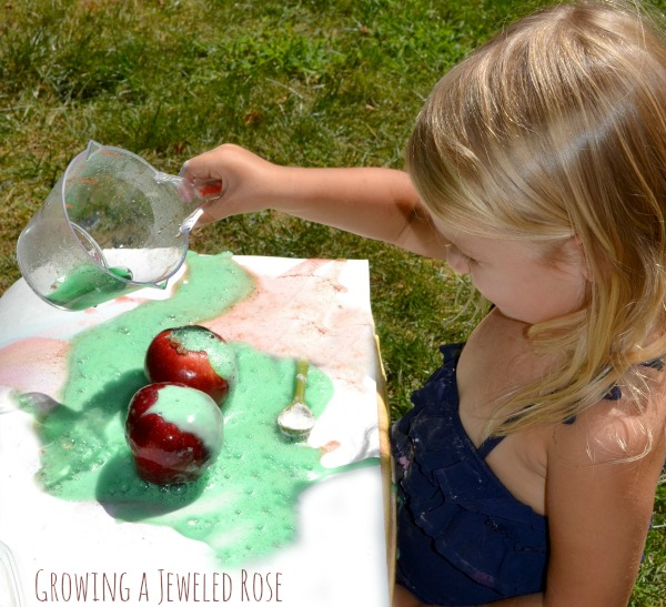 How to make an APPLE VOLCANO- super fun science for kids!