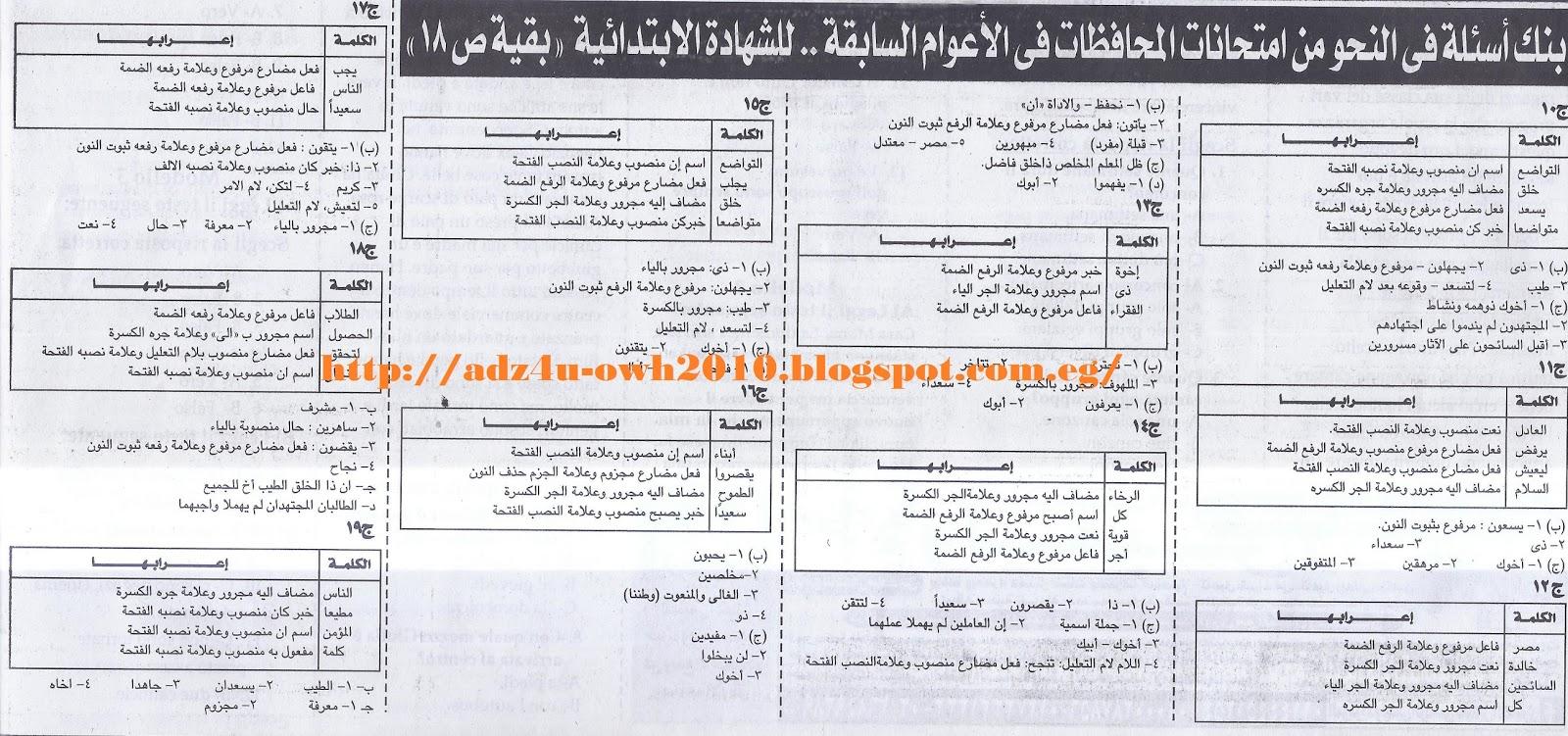 توقعات اسئلة امتحان النحو بالاجابات للصف السادس ترم ثاني.. ملحق الجمهورية 2017 5