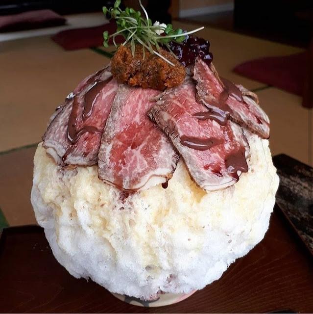 Swan鵝牌極致鵝絨日式刨冰 鵝絨雪花冰 #怪奇鵝絨冰(1):醬油、和牛、香菜...-swan-kakigori-post-unexpected-flavoring-kakigori-beef-soysauce-coriander-roastedbeef-topview-TRICO