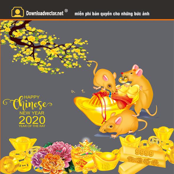 Vector Chuột Ngồi Thỏi Vàng