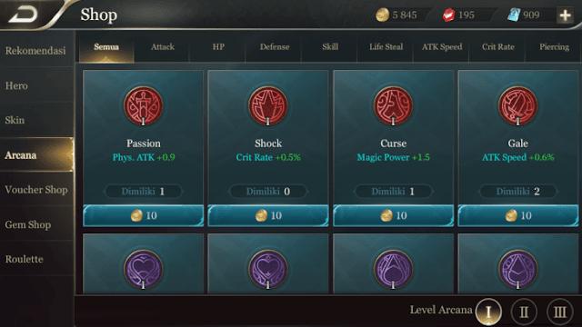 Harga dari setiap level arcana. Level 1: 10 gold, level 2: 100 gold, dan level 3: 2000 gold