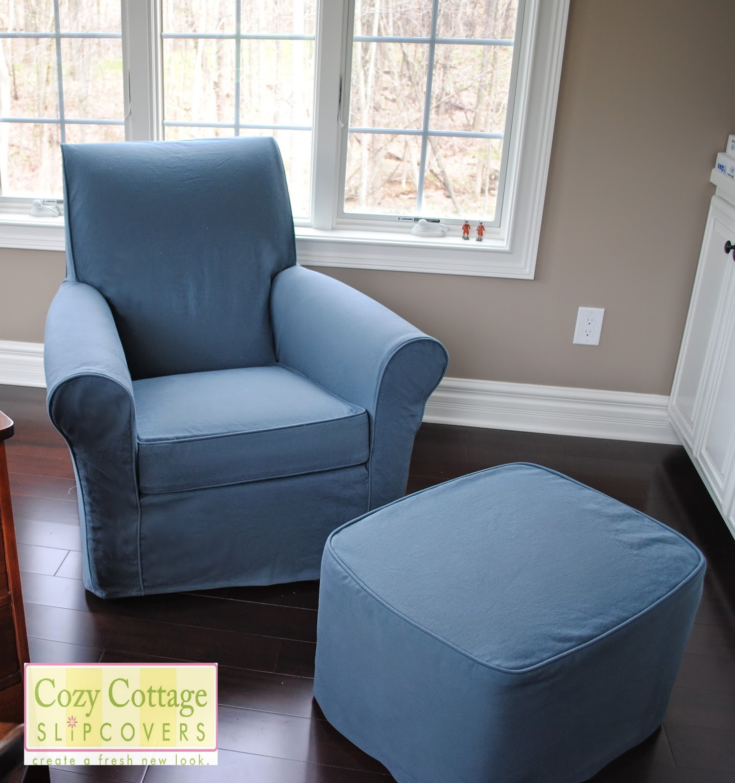 I really like the clean look of the slipcover with no skirt my customer preferred this look since the chair and ottoman would be in her husbands office