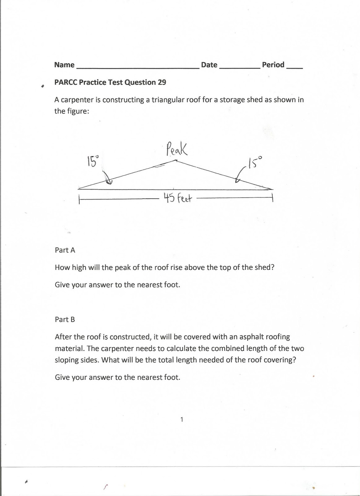 Geometry Common Core Style Parcc Practice Test Question 29 Day 172