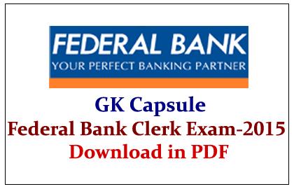 Federal Bank Clerk Exam 2015 Download in PDF