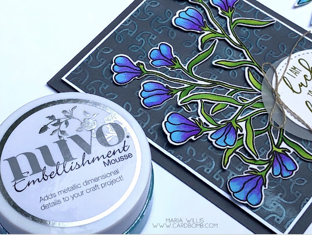 #cardbomb, #mariawillis, #tonicstudiosusa, #tonicstudios, #nuvo, #nuvoembellishmentmousse, #copics, #waffleflowercrafts, #technique, #color, #stamp, #ink, #paper, #papercraft, #cardmaking,