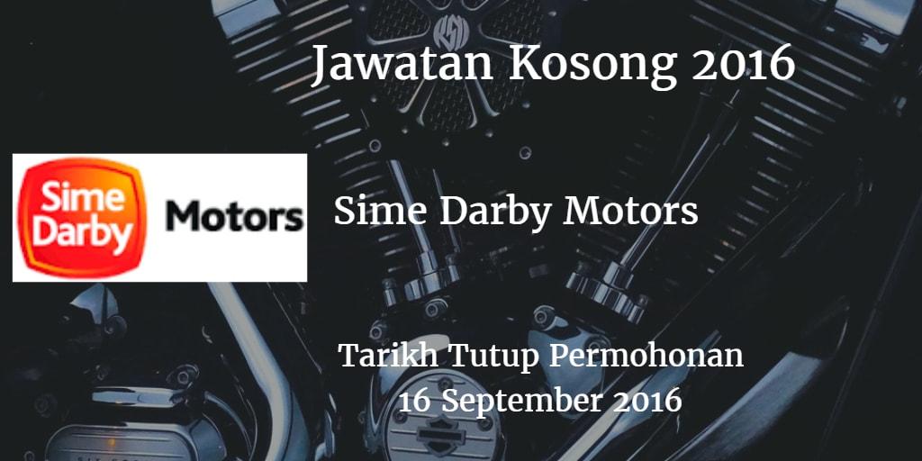 Jawatan Kosong Sime Darby Motors 16 September 2016