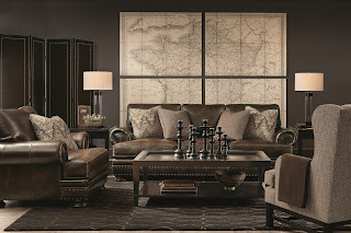 beautiful leather sofa with map art