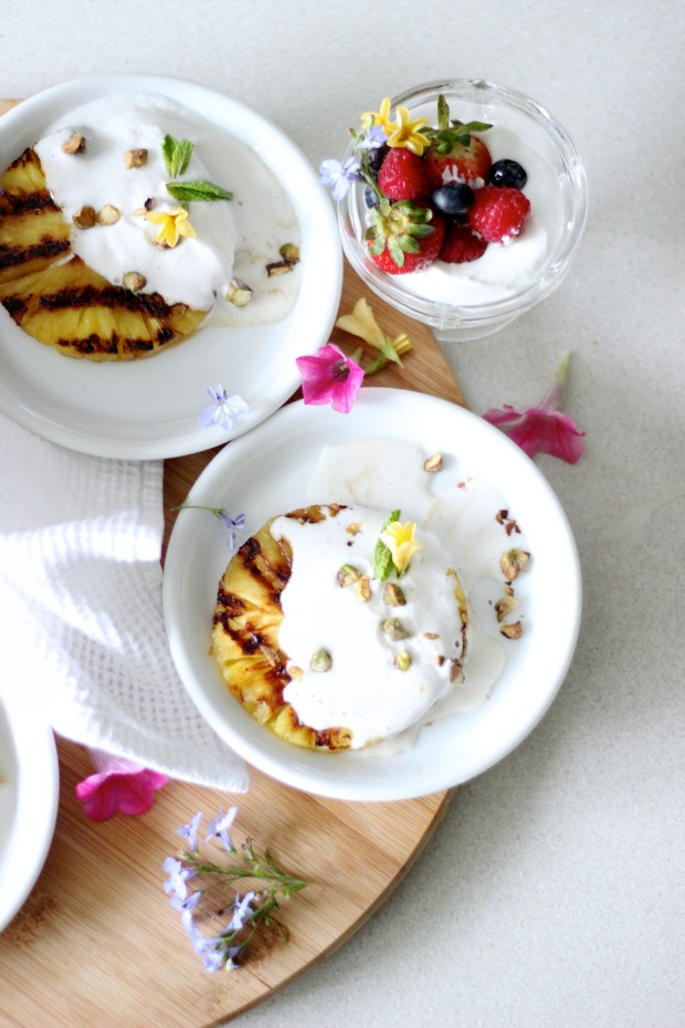 Grilled Pineapple with Vegan Coconut Whip, Roasted Pistachios - summertime dessert