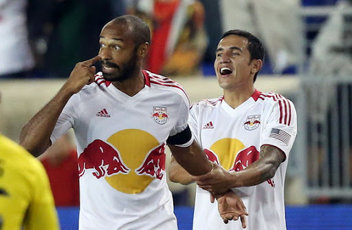 New York Red Bulls forward Thierry Henry celebrates his second goal against Columbus Crew
