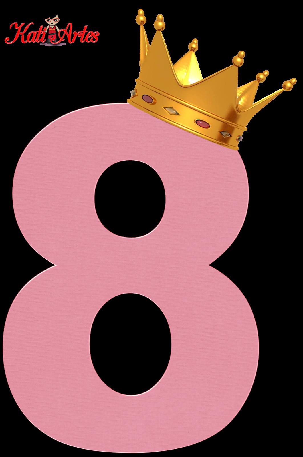 Números Rosas con Coronas.   Oh my Alfabetos!