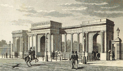 Screen, Hyde Park Corner  from National history and views of London by ed by CF Partington (1837)