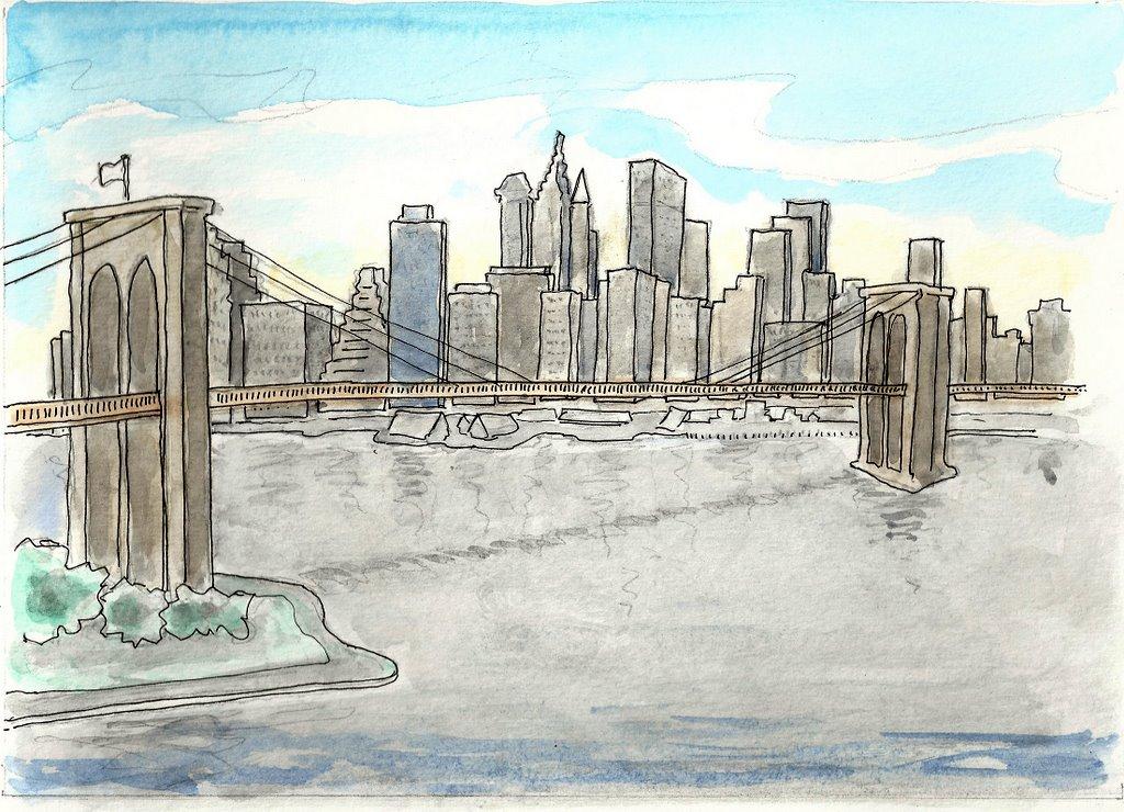 Gekleurde Tekeningen En Schetsen New York Sophie Werkt Daar Nu En