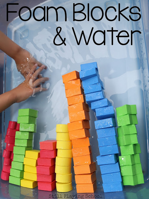 Lots of learning ideas for kids in this foam blocks and water sensory play!