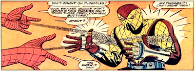 Amazing Spider-Man #46, John Romita, Spidey defeats the Shocker by webbing his thumbs together