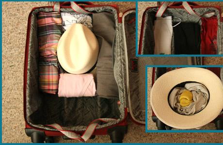 Sombrero, maleta, equipaje