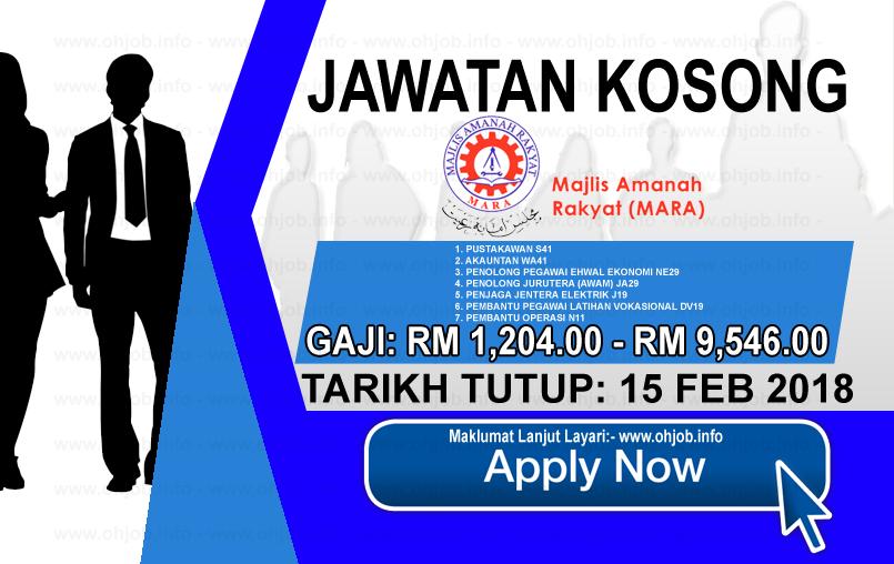 Jawatan Kerja Kosong Majlis Amanah Rakyat - MARA logo www.ohjob.info februari 2018