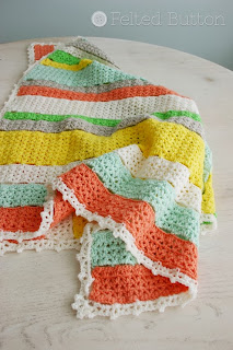 Citrus Stripe Blanket Free Crochet Pattern by Susan Carlson of Felted Button