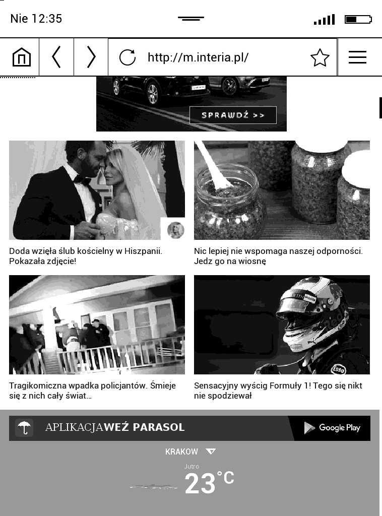 PocketBook Aqua 2 – strona interii w przeglądarce
