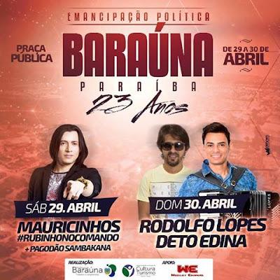 Confira atrações musicais da Festa de Emancipação Política de Baraúna