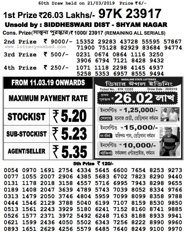 Nagaland Lottery Result : 21-03-2019: DEAR KIND MORNING