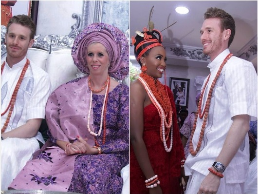 English family arrives Nigeria for their bride traditional wedding in native attires (Photos)