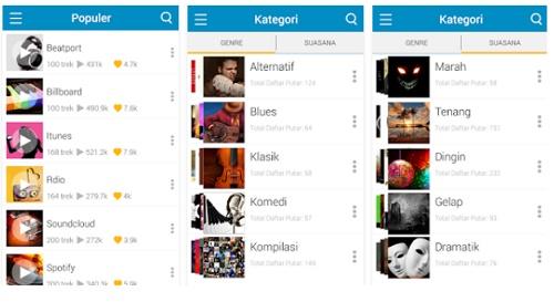 aplikasi pemutar musik online di Android