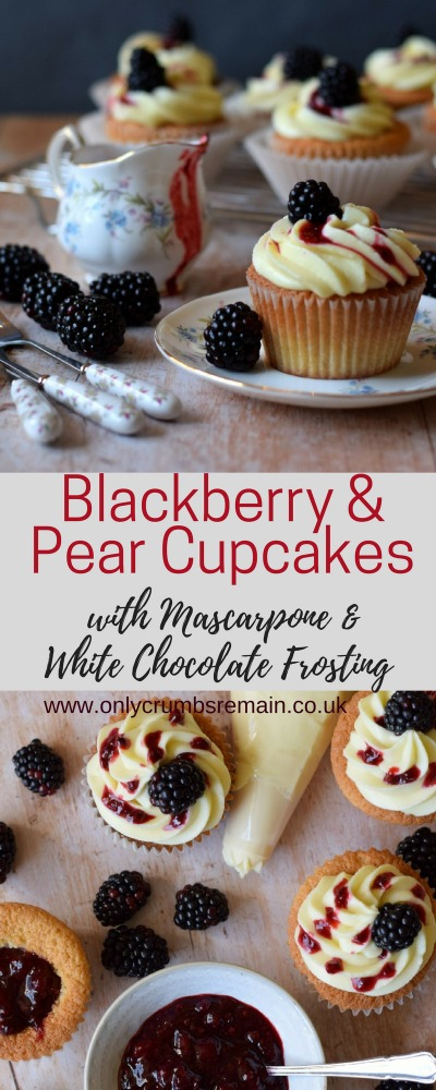 Blackberry and Pear Cupcakes make great use of seasonal autumn fruits.  They're filled with a homemade jam and topped with a swirl of mascarpone and white chocolate frosting