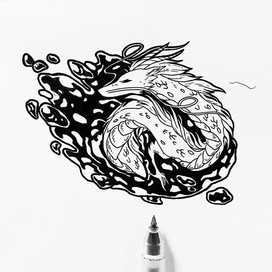 07-White-Dragon-Ink-Drawings-Stephanie-Mai-www-designstack-co