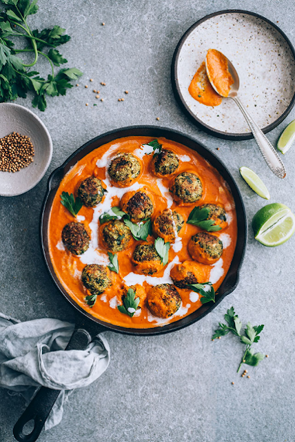Vegan Lentil Meatballs in Spiced Pumpkin Tomato Sauce