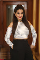 Manjusha in sleevelss crop top and black skirt at Darshakudu pre release ~  Exclusive Celebrities Galleries 113.JPG