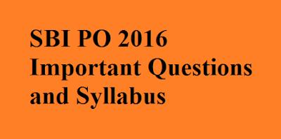 SBI PO 2016 Syllabus