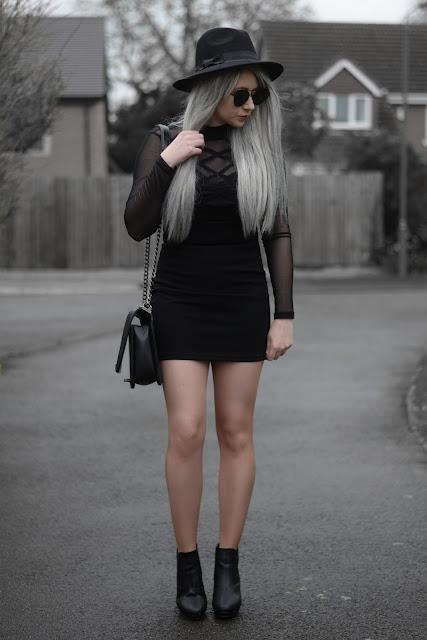 Sammi Jackson - Primark Black Fedora / Zaful Sunglasses / Tobi Know Better Black Mesh Bodycon Dress / OASAP Quilted Flap Bag / Topshop Alexy Ankle Boots