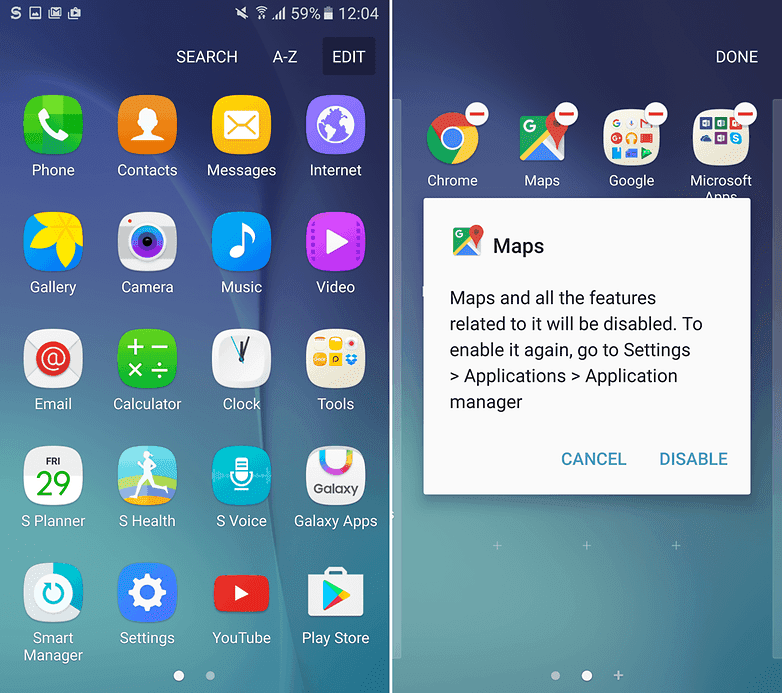 how to remove app from android