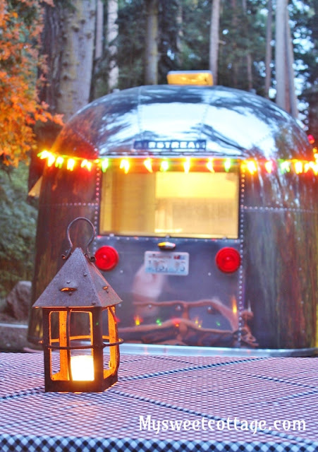 Airstream Trailer with Outside Lights