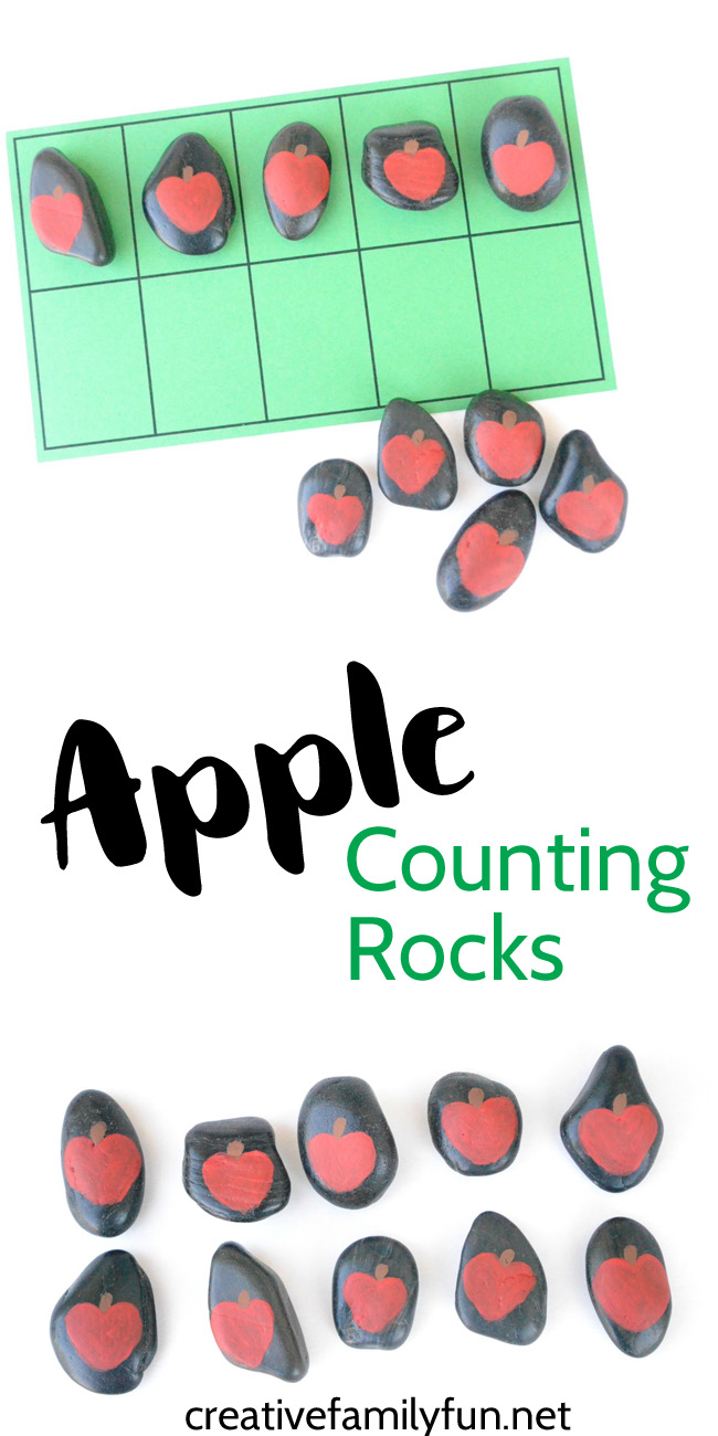 Use a simple set of DIY Apple Counting Rocks for number games and math activities.