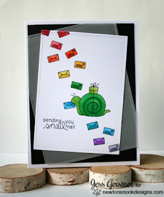 Clean and Simple Rainbow Snail Mail card by Jess Crafts featuring Newton's Nook Designs In Slow Motion