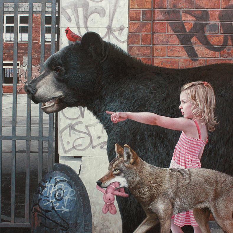 Pinturas hiperrealistas de niños y animales explorando restos urbanos de Kevin Peterson