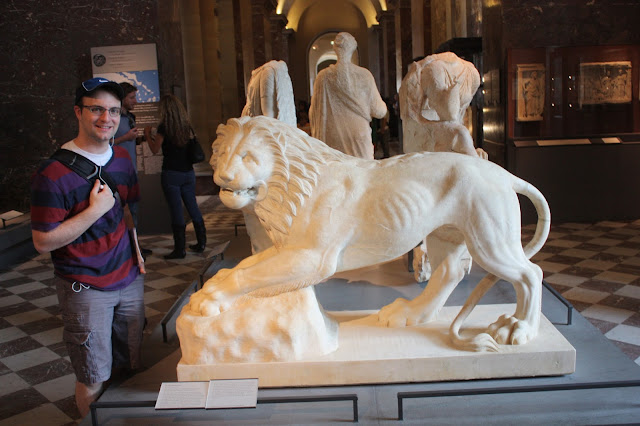 lion statue at the Louvre