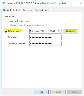 SQL Server Service - Log On tab