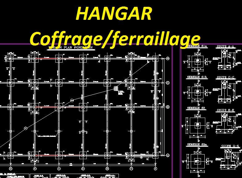 Extrêmement Plan coffrage et ferraillage DWG - Hangar en béton armé | Outils  UL31