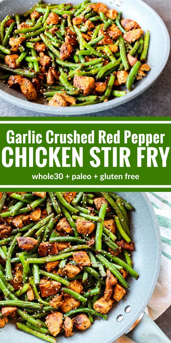 CHICKEN STIR FRY WITH GARLIC CRUSHED RED PEPPER