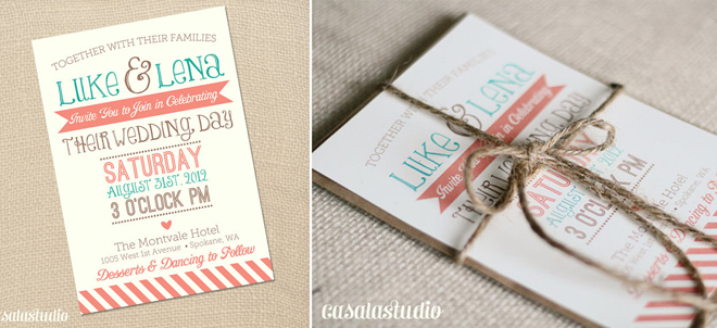Turquoise And Coral Wedding Invitations: E Hernandez Designs: Color Palettes I'm Loving: Turquoise
