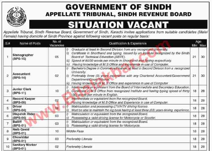 Government of Sindh Appellate Tribunal Sindh Revenue Board Jobs 2018