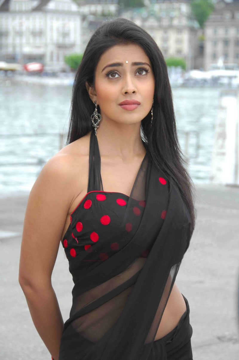 Indian Actress Shriya Saran Hot Black Saree Bikini Blouse -5558