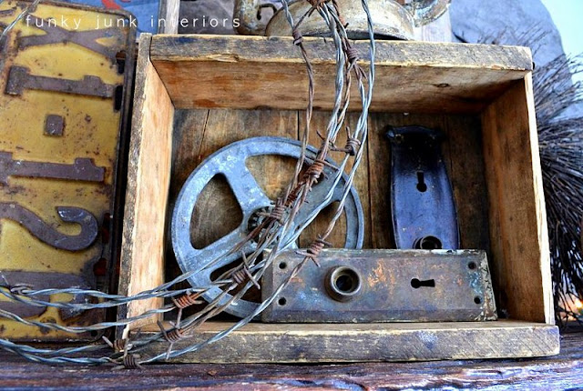 Old crate, barbed wire / How to decorate a junk style mantel via https://www.funkyjunkinteriors.net