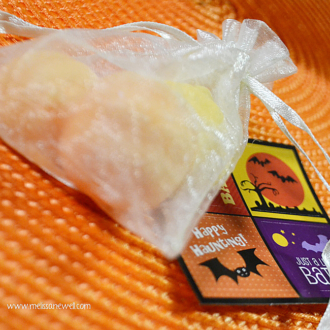 goodie bag of DIY soap, trick or treat idea, halloween stickers