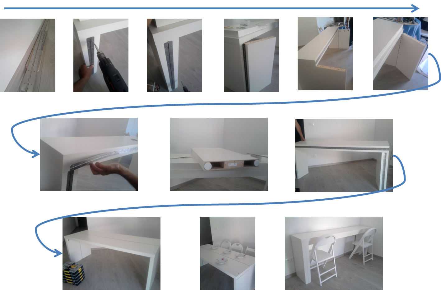 Take The Spare Legs Of The Second Malm And Join Them With The Legs Of The  Already Built Up Table, Through The Hinge Screwed In On The Long Side;