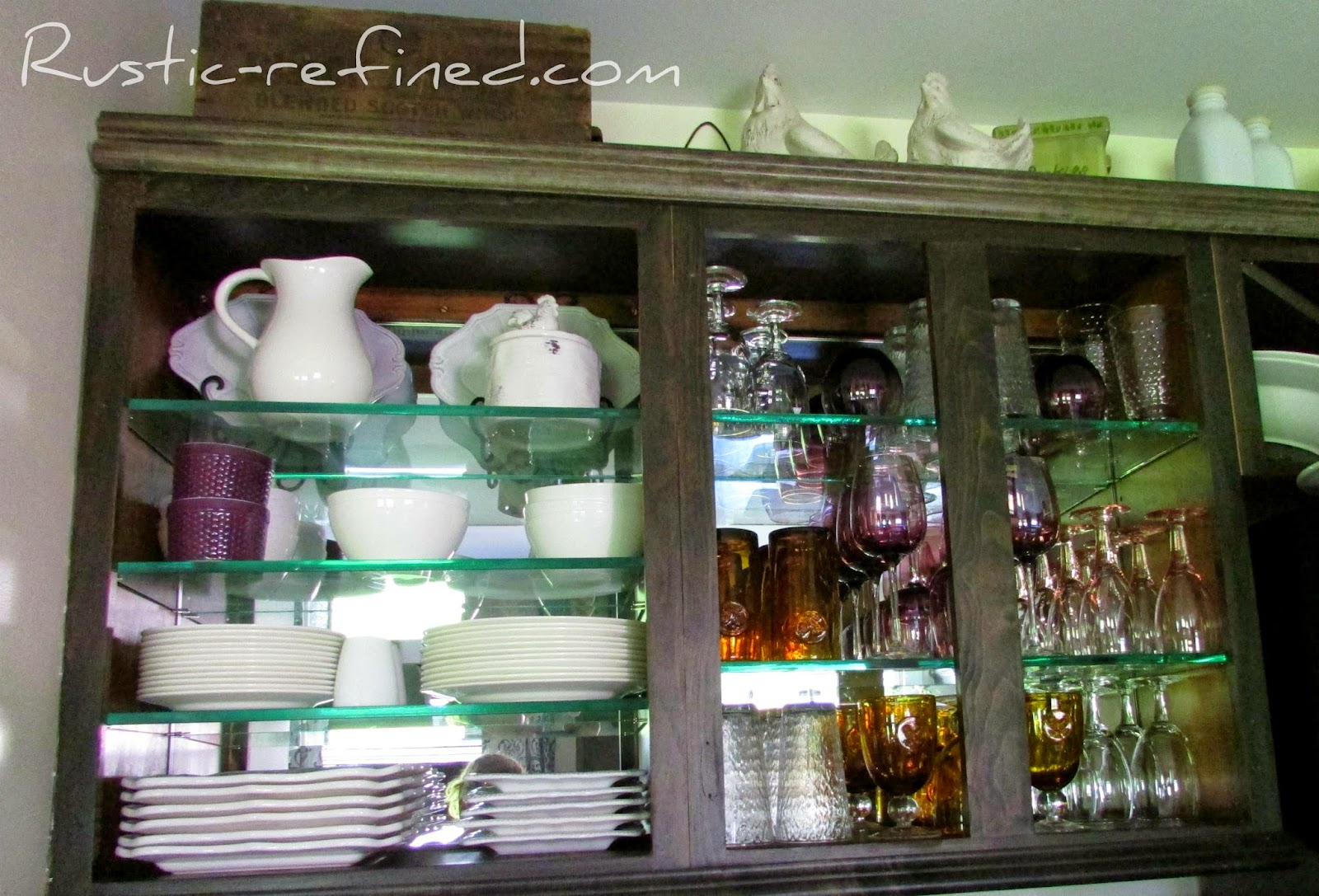 Kitchen Cabinet using Mirror & Glass @ Rustic-refined.com