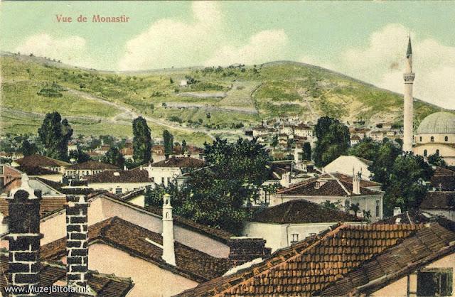 Хајдар Кади џамијата со околните куќи и ридовите на северниот дел од градот на разгледница од 1910 година.